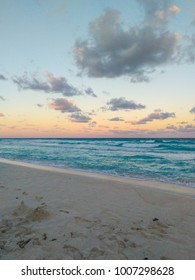 Sunset on the beach in Cancun hotel zone.