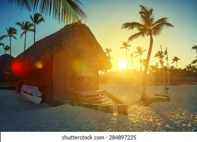 Sunset on the beach of Caribbean sea, Dominican Republic, dreamy look