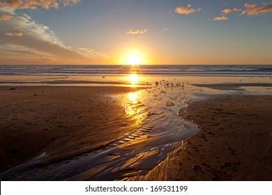 Sunset on the beach at Carlsbad, California