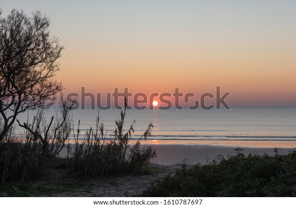 Sunset on the beach of Costa Ballena, in the town of Rota, province of Cadiz, Spain.