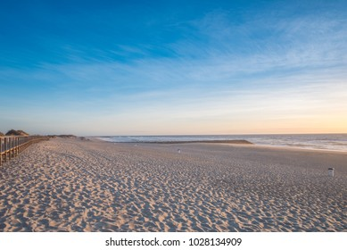 Sunset on the beach of Costa Nova in the district of Aveiro, Portugal
