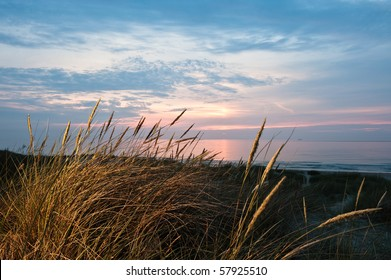 Sunset on a beach in denmark at summer