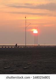 sunset on the beach in Grado