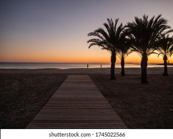 Sunset on the beach of Levante de Santa Pola, Alicante, Spain - Shutterstock ID 1745022566
