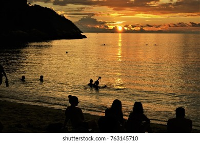 Sunset on the beach at Sunset beach ,Lipe island southern Thailand.