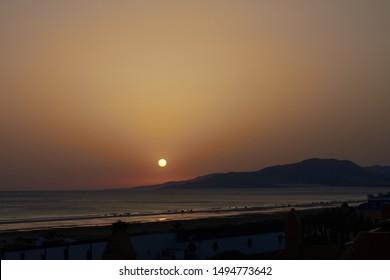 Sunset on the beach of Los Lances, Tarifa, Cádiz, Andalusia, Spain
