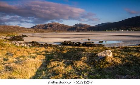 Sunset on the beach. Luskentyre, Isle of Harris, Scotland