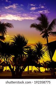 Sunset on a beach, Mauritius