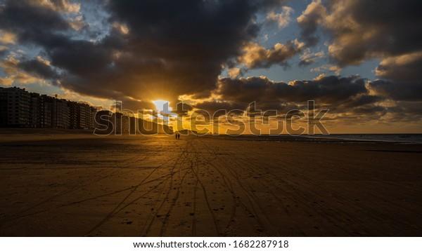 sunset on the beach in Middelkeke Belgium