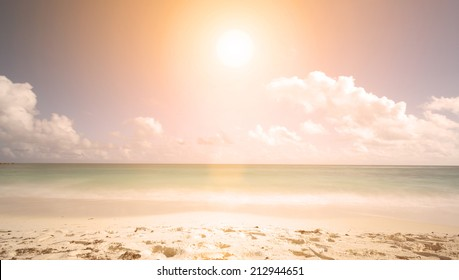 sunset on the beach. minimalist scene