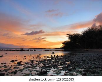 Sunset on the beach of Molokai