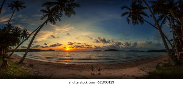 sunset on the beach in panorama view