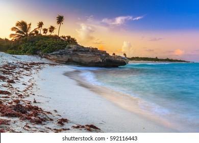 Sunset on the beach of Playa del Carmen at caribbean sea, Mexico