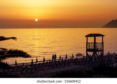 Sunset on a beach resort ocean view