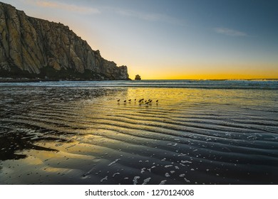 Sunset on the beach, rock in the water, birds silhouette, Moro Rock in Moro Bay, California