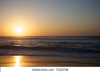 Sunset on the beach in Saint Louis - Senegal