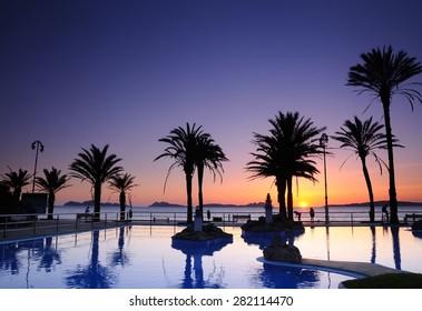 Sunset on the beach of Samil in Vigo, Spain.