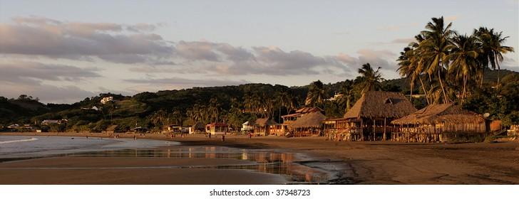Sunset on the beach in San Juan del Sur, Nicaragua
