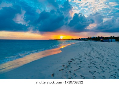 sunset on the beach of Shoal Bay East Anguilla island Caribbean sea