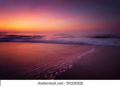 sunset on beach shore