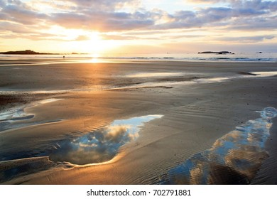 Sunset on the beach of St Malo (Brittany, France)