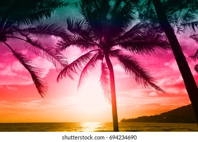 sunset on the beach in Thailand adamand sea