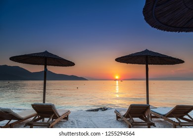 Sunset on the beach in Thassos island, Greece