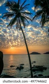 Sunset on the beautiful beach Goa Indian