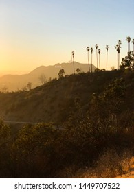Sunset on a beautiful cloudless day with a view of the Hollywood sign