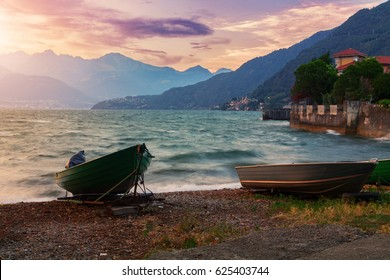 Sunset on the beautiful Lake Como in Italy, Europe