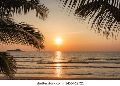 Sunset on a beautiful tropical beach on Koh Chang island in Thailand