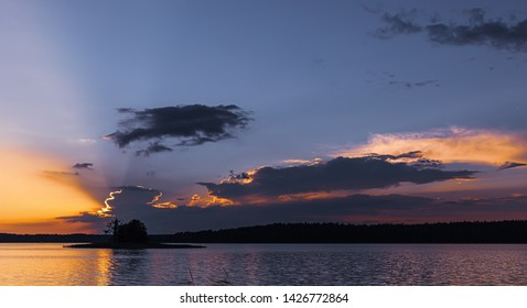 Sunset on the Biale lake in Augustow in Poland