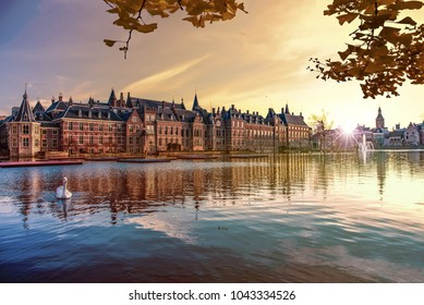 Sunset on the Binnenhof building and The Hague city reflected on the pond with a swan swimming on, Netherlands - Shutterstock ID 1043334526