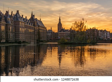 Sunset on the Binnenhof building and The Hague city reflected on the pond. Netherlands
