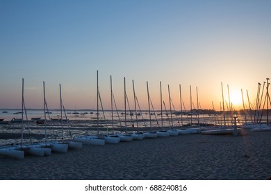 Sunset on boats on the Arcachon Bay in France