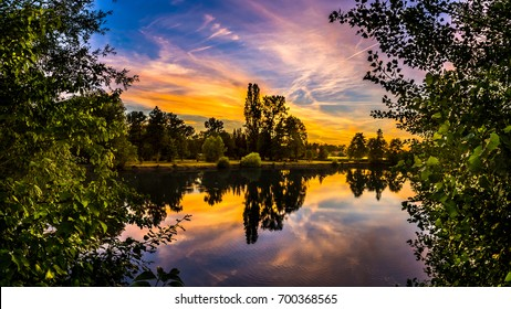 Sunset on bobovica lake in Samobor Croatia