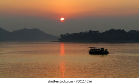 Sunset on Brahmaputra river in Guwahati, India.