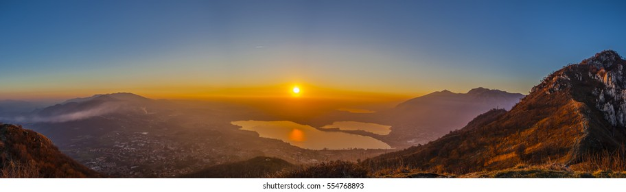 Sunset on the Brianza lakes from Monte Barro