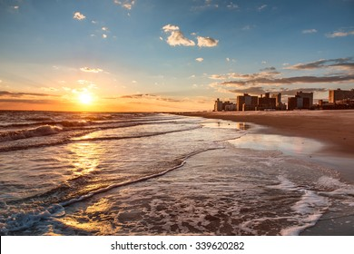 Sunset on Brighton Beach in Brooklyn, New York City
