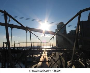 Sunset on the Brookyn Bridge.