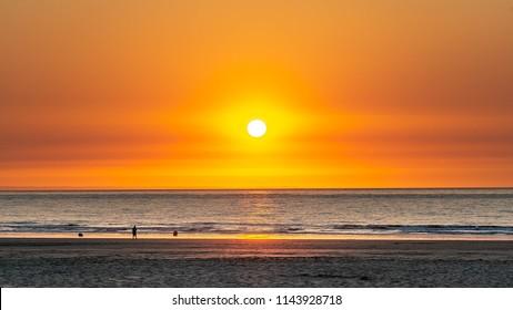 Sunset on the Calais beach france.
