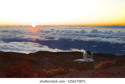 Sunset on the Caldera de Taburiente with an opened astronomical observatory, Island of La Palma, Canary Islands, Spain