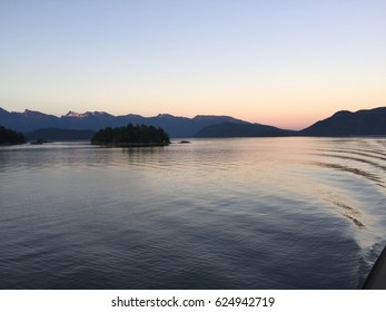 Sunset on a calm body of water in the Pacific Northwest