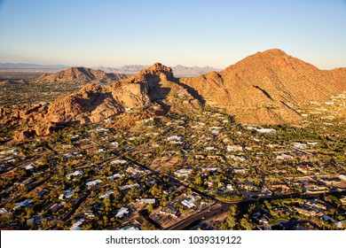 Sunset on Camelback Mountain aerial view in Phoenix, Arizona