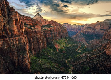 Sunset on Canyon Overlook, Zion National Park, Utah