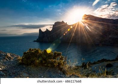 Sunset on the cape Kapchik near Sudak in the Crimea