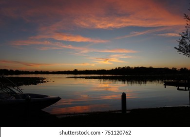 Sunset on the chain of lakes in Winter Haven, Florida
