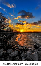 Sunset on a Chesapeake Bay beach in Maryland in Winter