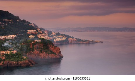 sunset on cities all around the coatline of the french riviera