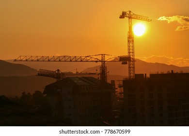 Sunset on the city's construction sites